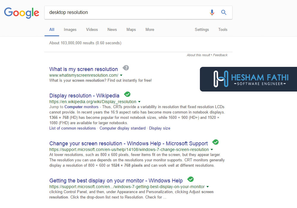 desktop resultion search query example after the hummingbird google update